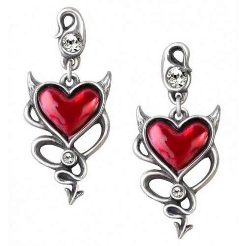 Alchemy Devil Heart Gothic Stud Earrings