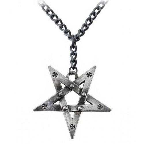 Pentagram Inverted Pewter Alchemy Pentagration Gothic Pendant Necklace