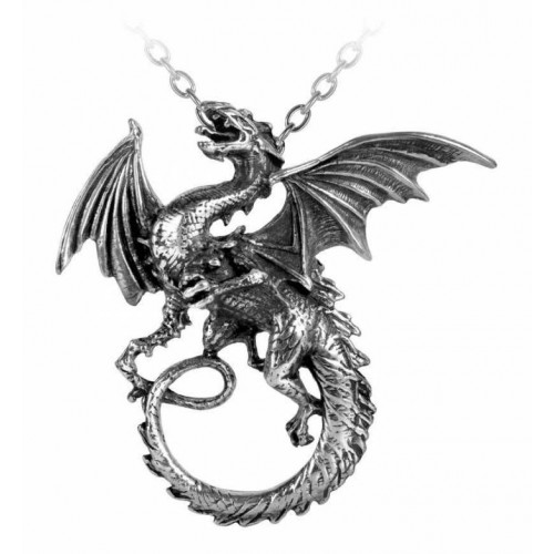 Dragon Pewter Alchemy Whitby Wyrm Gothic Pendant Necklace