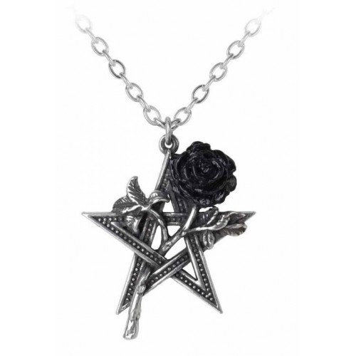 Pentagram Black Rose Alchemy Gothic Ruah Vered Pendant Necklace