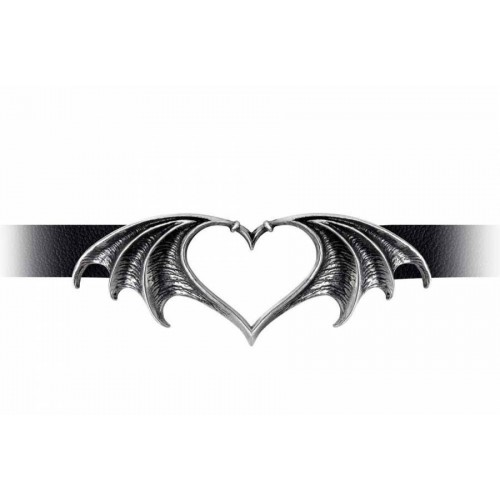 Bat Heart Alchemy Gothic Nocte Amor Black Leather Choker Necklace