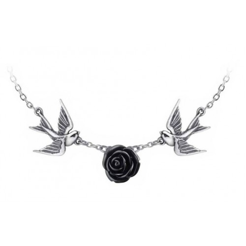 Black Rose Swallow Birds Alchemy Gothic Love Returns Pendant Necklace