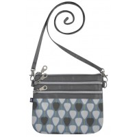 Oil Cloth Three Zip Pouch Shoulder Cross Body Bag Earth Squared