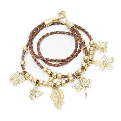 Brown Leather Gold Charms Beads Bracelet