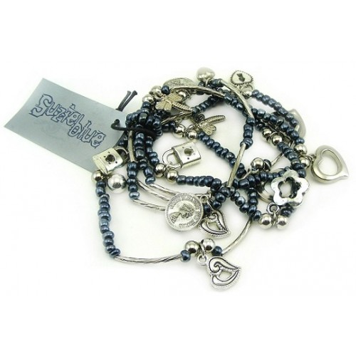 Silver Charms Five Layer Glass Beads Bracelet