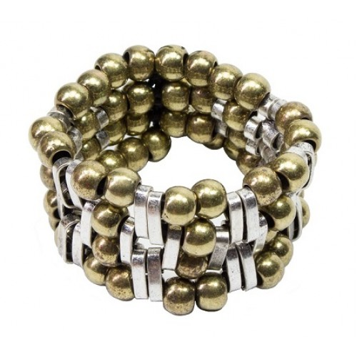 Gold and Silver Beads Bracelet