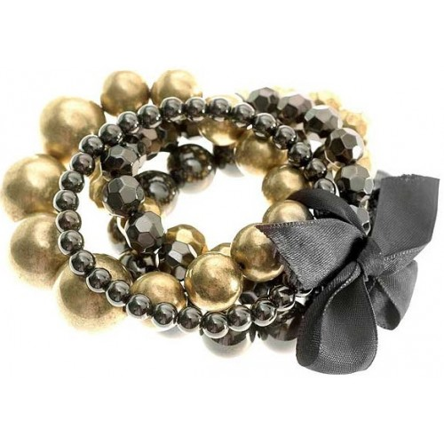 Gold and Black Five Layer Beads Bracelet