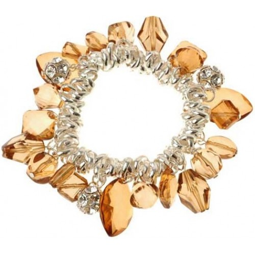 Crystal Topaz Diamante Beads Charms Bracelet
