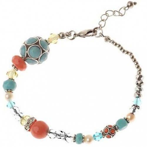 Silver Coral Beads Bracelet