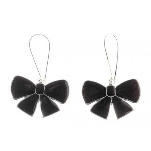 Black Bow  Drop Earrings