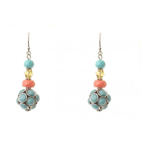 Aquamarine Coral Bead Drop Earrings