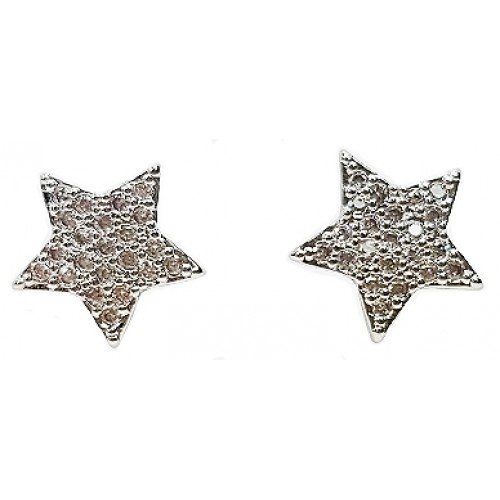 Star Cubic Zirconia Paved 18K Gold Plated Stud Earrings