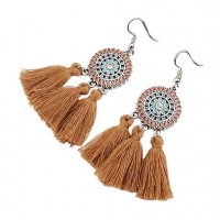 Tassel Enamel Rhinestone Drop Earrings
