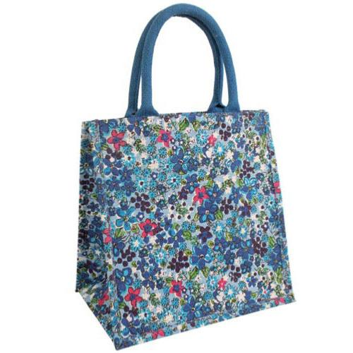 Jute Hessian Laminated Bag Eco Shopper Floral Print