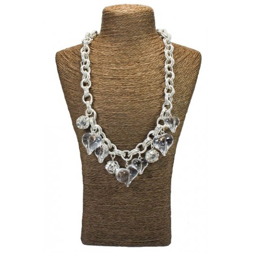Crystal Hearts Teardrop Chain Statement Necklace