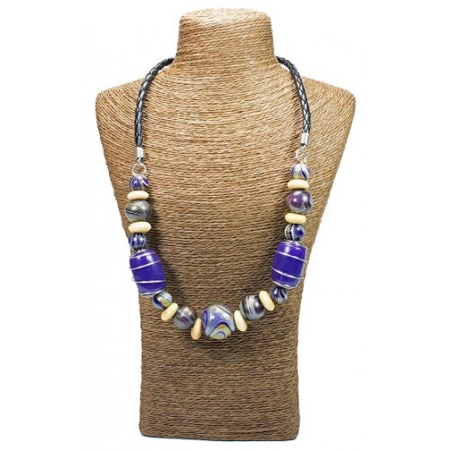 Purple Wood Spiral Beads Necklace
