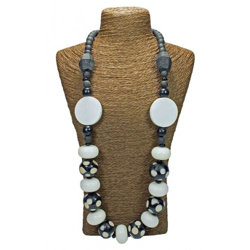 Polka Dot White Black Beads Necklace