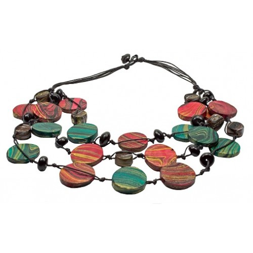 Wood Beads Three Layer Necklace