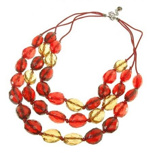 Red Three Layer Beads Necklace