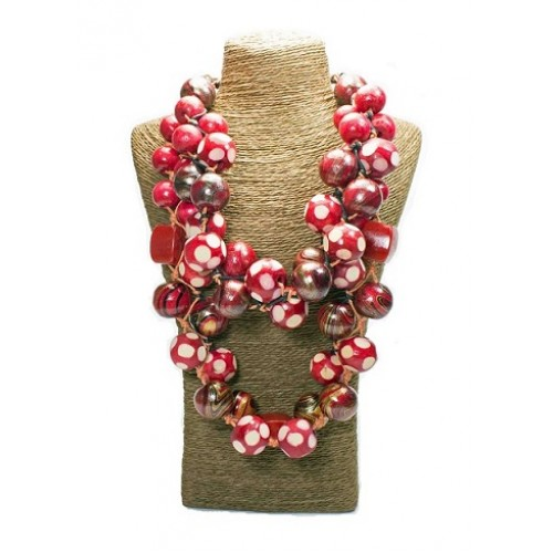 Polka Dots Red Wooden Bead Necklace