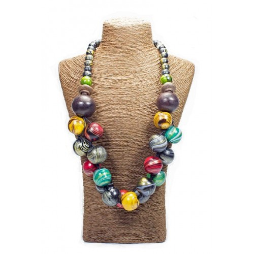 Printed Beads Wood Necklace