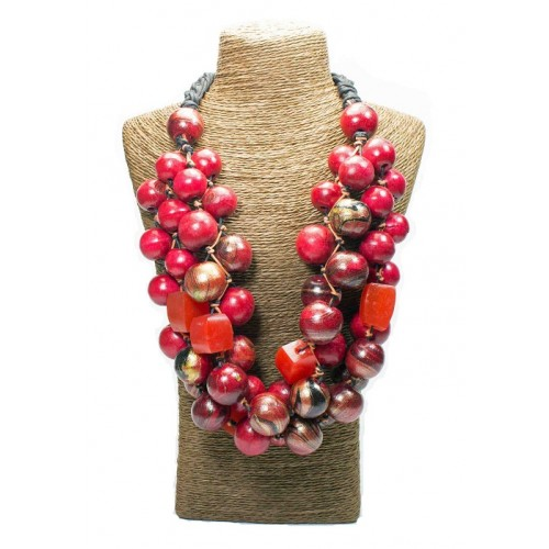 Cherry Red Beads Wood Necklace