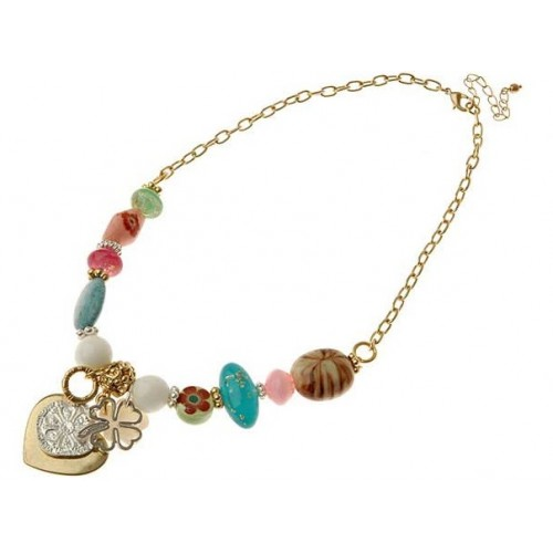 Gold Heart Clover Leaf Beads Necklace