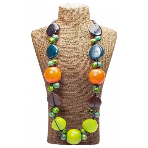 Orange Wood Beads Necklace