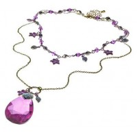 Purple Teardrop Pendant Beads Vintage Style Necklace