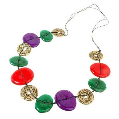 Gold Flat Beads Long Necklace