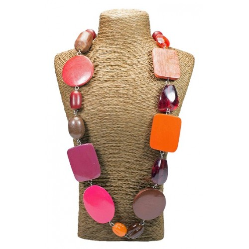 Pink Oval Wood Beads Necklace