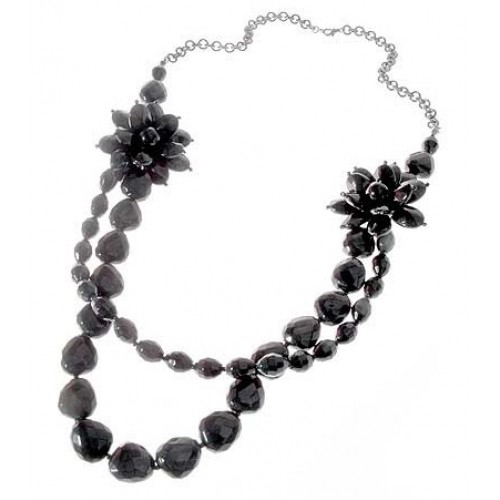 Black Flower Beads Two Layer Hematite Necklace