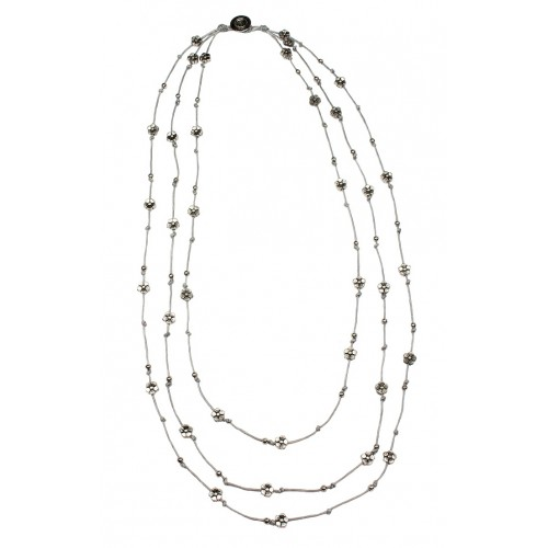 3 Layer Silver Flower Beads Cord Necklace