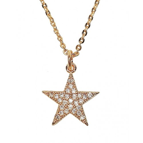 Star Cubic Zirconia Paved 18K Gold Plated Dainty Necklace