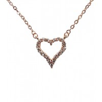 Heart Cubic Zirconia Paved Pendant 18K Gold Plated Necklace