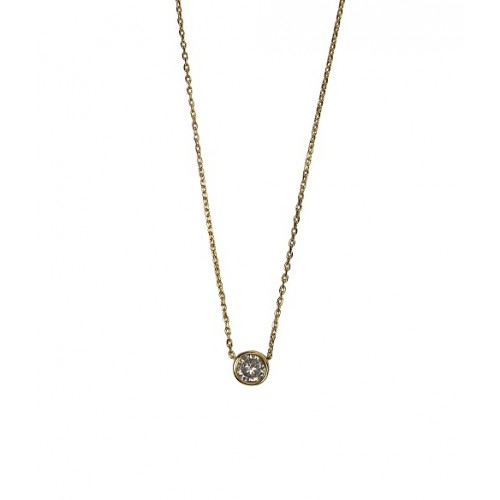 18K Gold Plated Round Solitaire Cubic Zirconia Slide Pendant Necklace