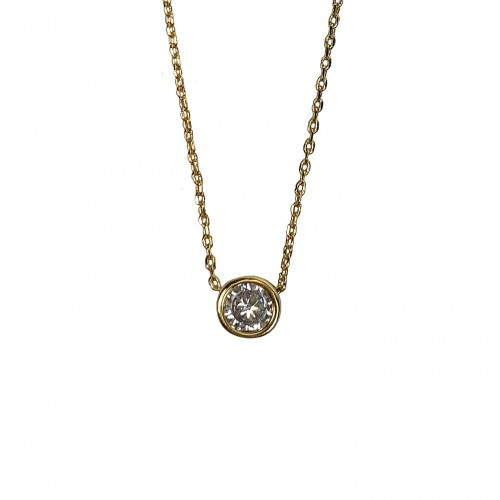 18K Gold Plated Round Solitaire Cubic Zirconia Paved Slide Pendant Necklace