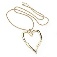 Lagenlook Large Heart Pendant Long Necklace