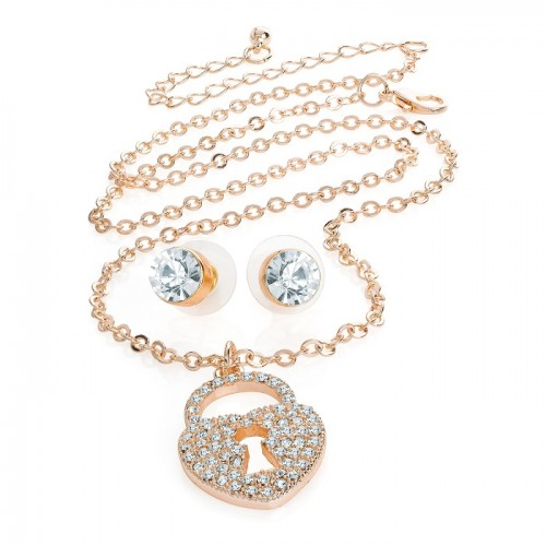 Crystal Rhinestones Heart Lock Pendant Necklace and Stud Earrings Set