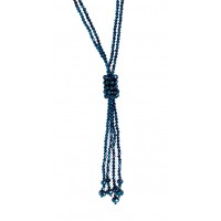 Two Layer Glass Beads Tassel Necklace