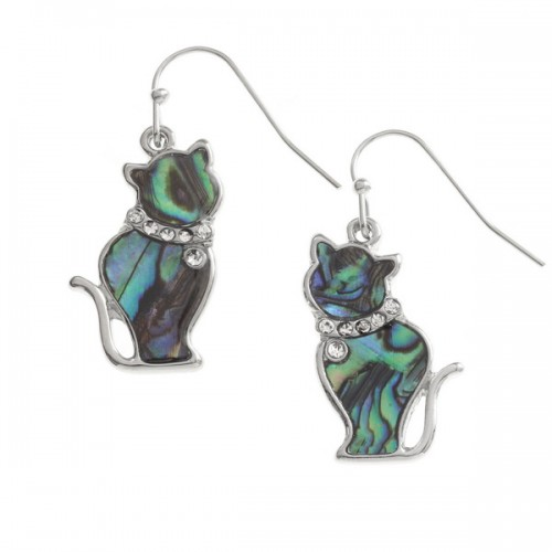 Cat Abalone Paua Shell Drop Earrings
