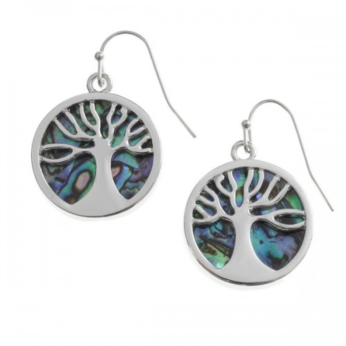 Tree of Life Drop Earrings Abalone Paua Shell