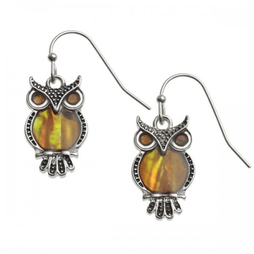 Owl Orange Paua Abalone Drop Earrings