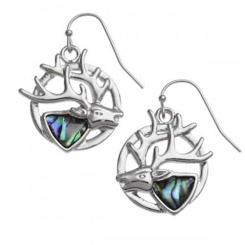 Stag Paua Abalone Shell Drop Earrings