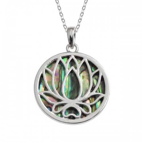 Lotus Flower Paua Shell Pendant Necklace