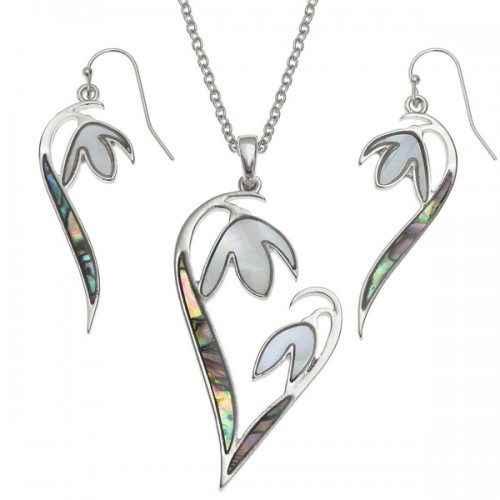 Snowdrop Flower Abalone Paua Shell Pendant Necklace and Earrings Set