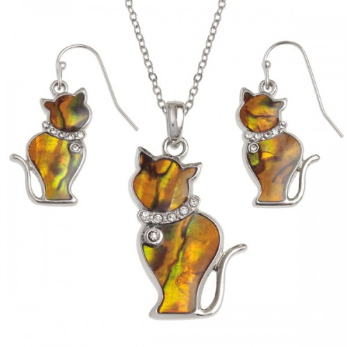 Cat Paua Shell Pendant Necklace and Drop Earrings Set