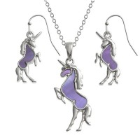 Unicorn Paua Abalone Shell Pendant Necklace and Drop Earrings Set