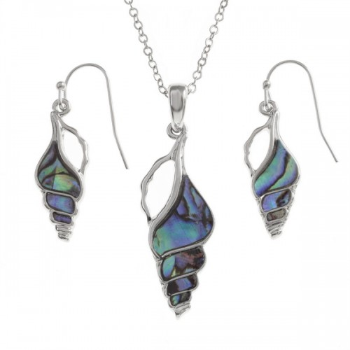 Spiral Seashell Paua Abalone Pendant Necklace and Earrings Set