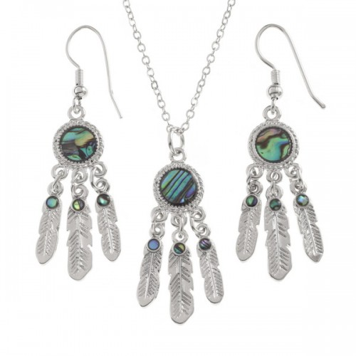 Dream Catcher Paua Abalone Shell Necklace and Earrings Set
